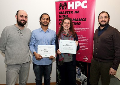 ICTP researcher Marcello Dalmonte (left) with MHPC graduates Rajat Panda and Alejandra Foggia, and MHPC applications specialist Ivan Girotto